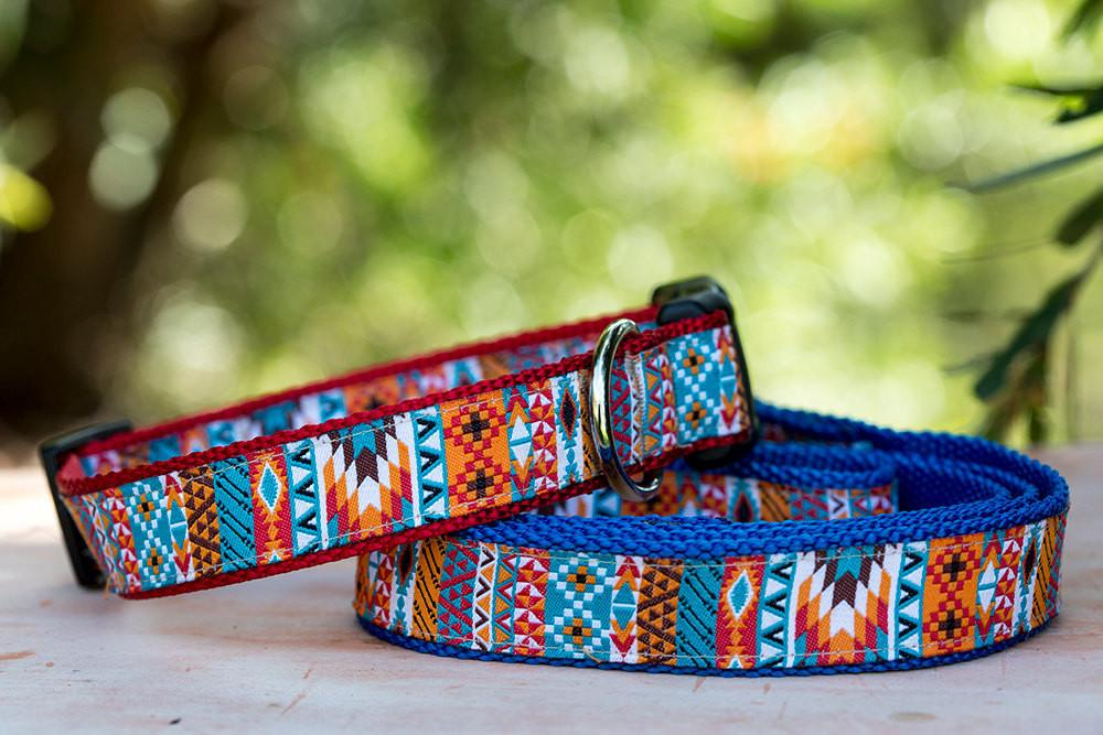 "Aztec / Mexican Dog Collar XS-XL-Dog Collar-Dizzy Dog Collars-Extra Small 5/8"" (1.5cm) Wide-On Black-Dizzy Dog Collars"