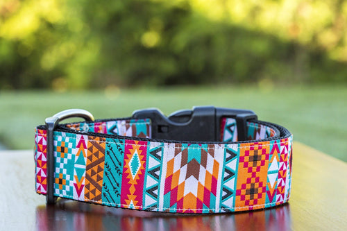 "Aztec Tribal Dog Collar 1.5"" Wide (Handmade to order)"