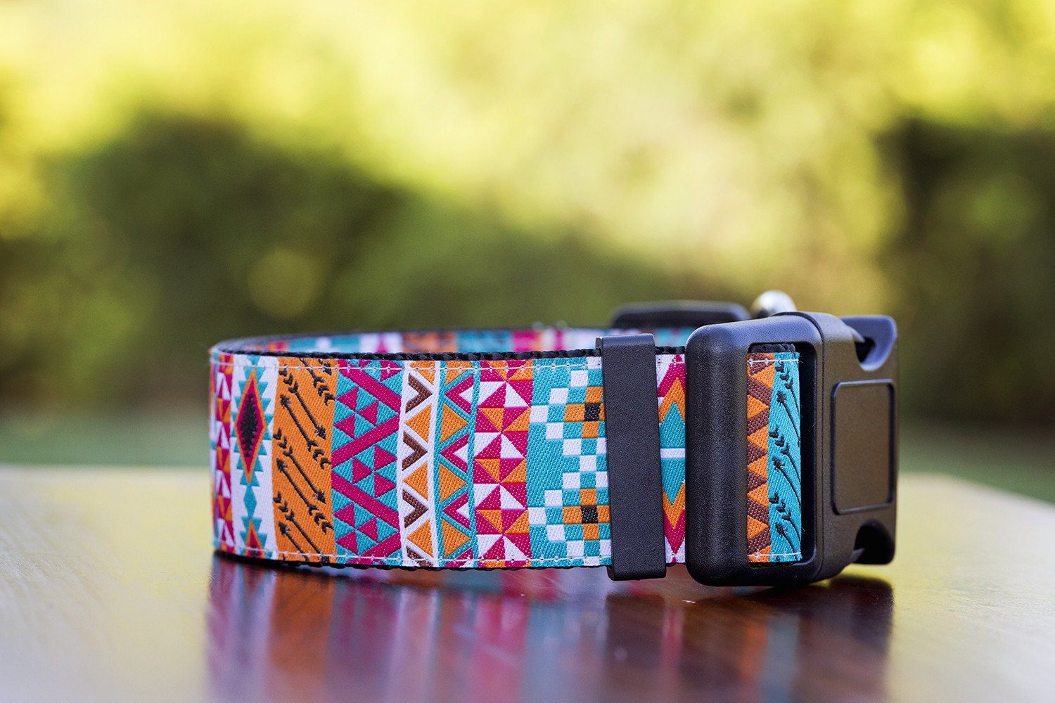 "Aztec Tribal Dog Collar 1.5"" Wide-Dog Collar-Dizzy Dog Collars-Medium-Dizzy Dog Collars"