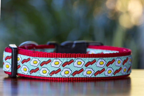 Bacon & Eggs Dog Collar XS-XL (Handmade to order)