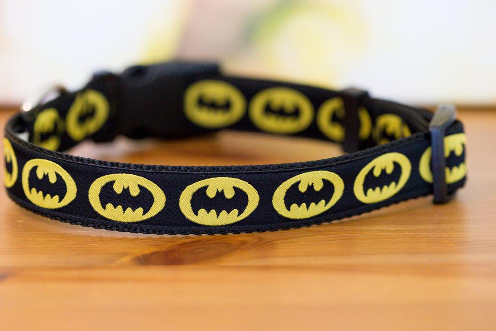 "Batman Dog Collar XS-XL-Dog Collar-Dizzy Dog Collars-Extra Small 5/8"" (1.5cm) Wide-On Black-Dizzy Dog Collars"