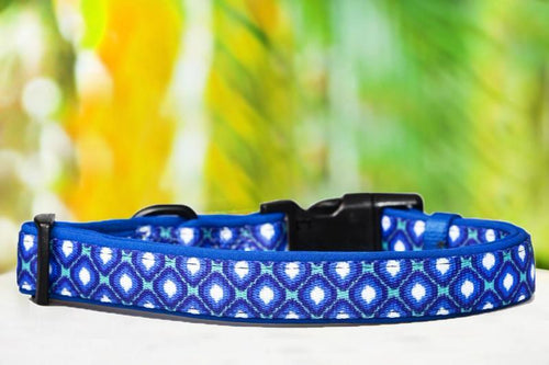 Blue Ikat Dog Collar (Neoprene)