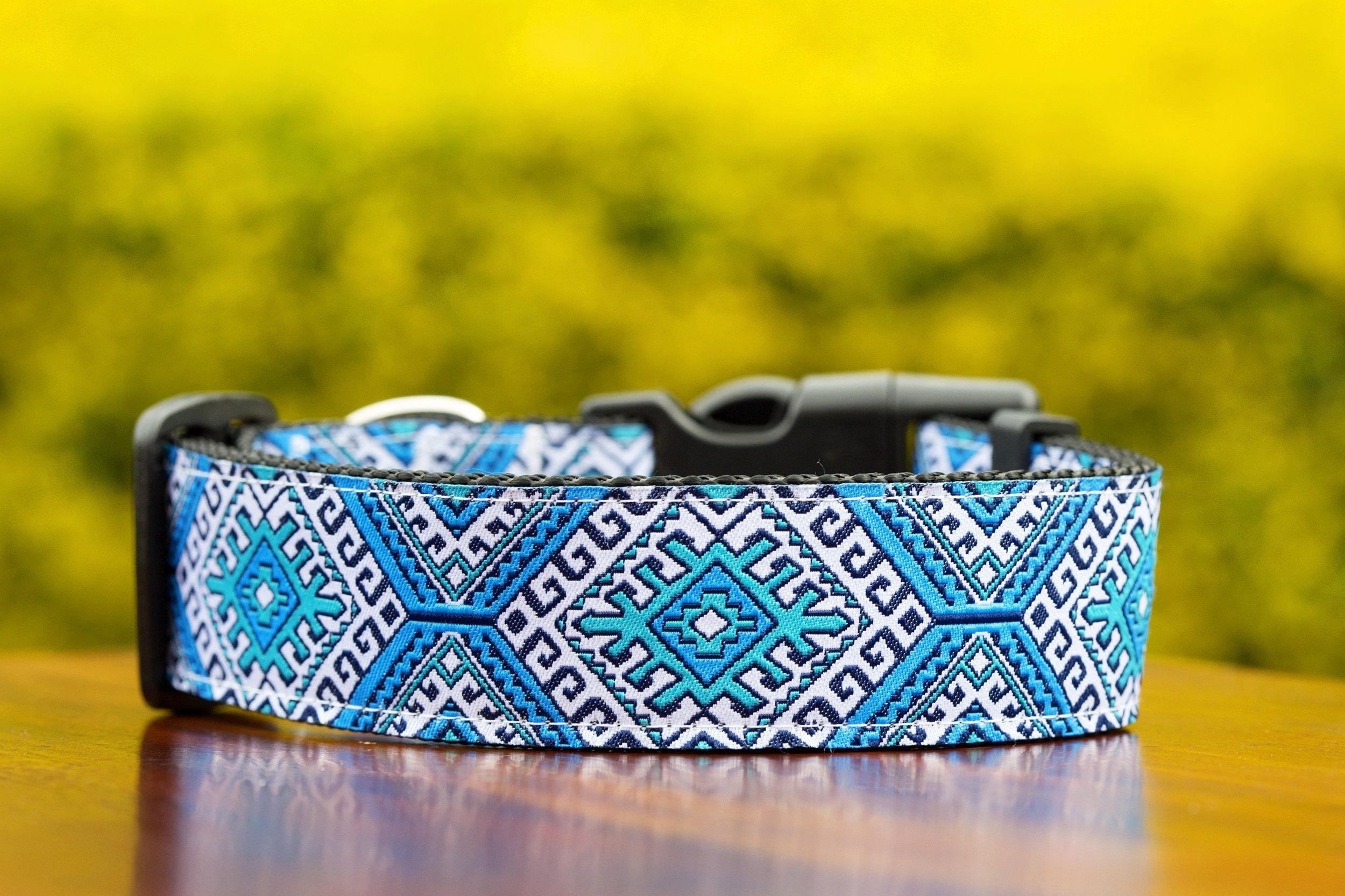 "Blue Mexican Dog Collar 1.5"" Wide-Dog Collar-Dizzy Dog Collars-Medium-Dizzy Dog Collars"