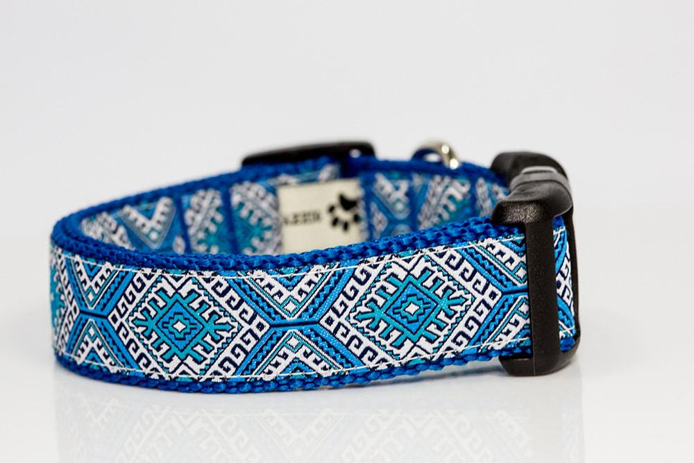 "Blue Mexican Dog Collar XS-XL-Dog Collar-Dizzy Dog Collars-XS 5/8"" (1.5cm) Wide-Dizzy Dog Collars"
