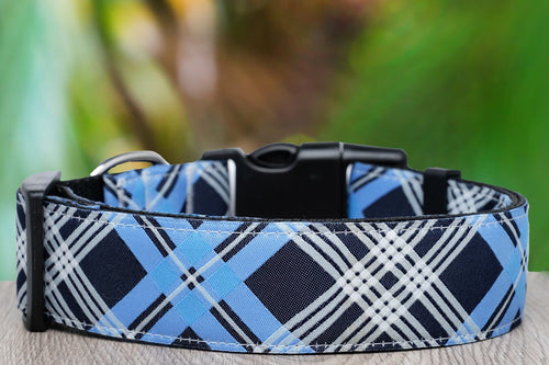 Blue Plaid Dog Collar - 3.8cm Extra Wide (Nylon) (Handmade to order)