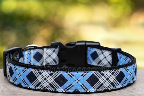 Blue Plaid Dog Collar / XS-XL (Nylon) (Handmade to order)