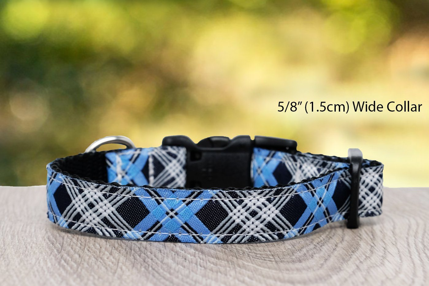 "Blue Plaid Dog Collar / XS-XL-Dog Collar-Dizzy Dog Collars-XS 1.5cm Wide (5/8"")-Dizzy Dog Collars"