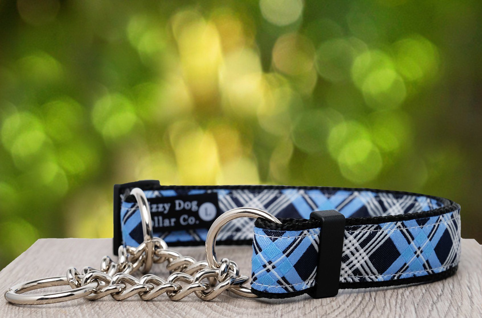 "Blue Plaid Martingale (Webbing or Half Check)-Dog Collar-Dizzy Dog Collars-Sml 2cm Wide (3/4"")-Half Check Chain-Dizzy Dog Collars"