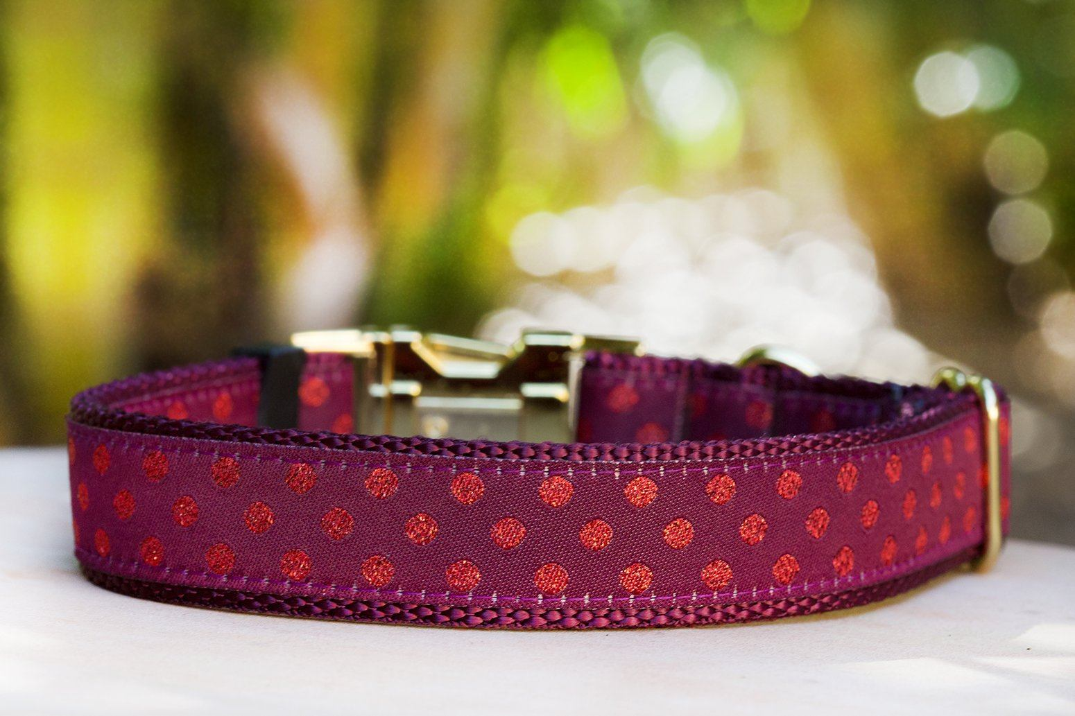 "Burgundy Polka Dot Dog Collar / XS-XL / Glitter Dog Collar-Dog Collar-Dizzy Dog Collars-XS (5/8"") 1.5cm Wide-Burgundy (Plastic)-Dizzy Dog Collars"