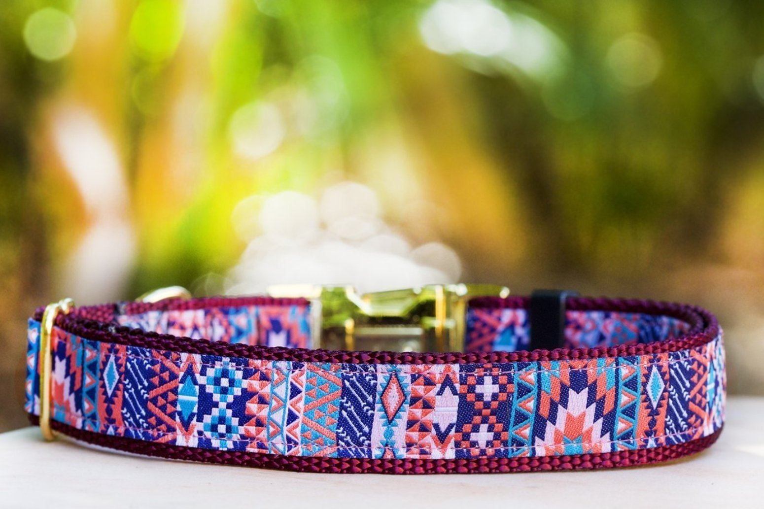 Handmade aztec dog collar, cute collar for dogs in a burgundy colour