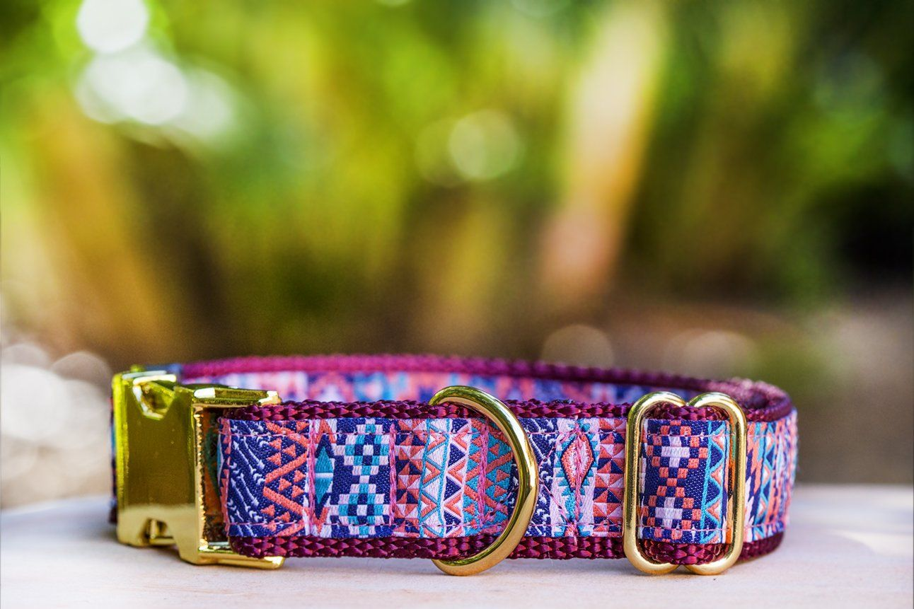 This cute aztec dog collar is burgundy in colour and is handmade in Australia