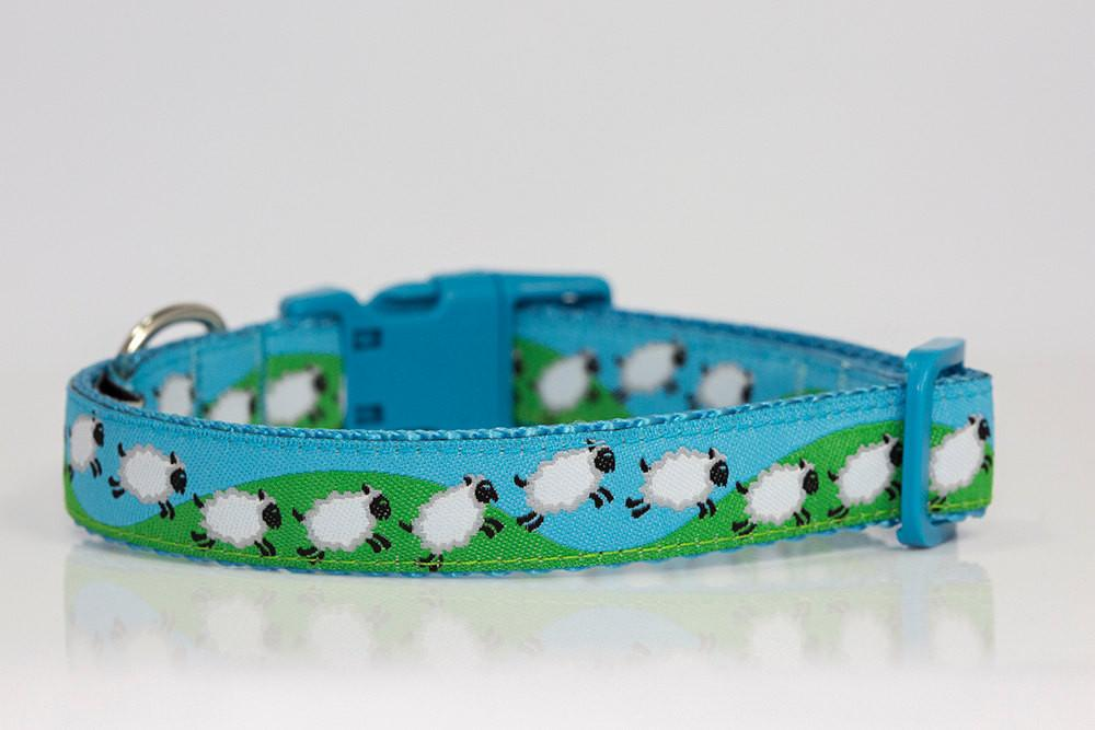 "Counting Sheep Dog Collar / XS-XL-Dog Collar-Dizzy Dog Collars-Extra Small 5/8"" (1.5cm) Wide-Dizzy Dog Collars"