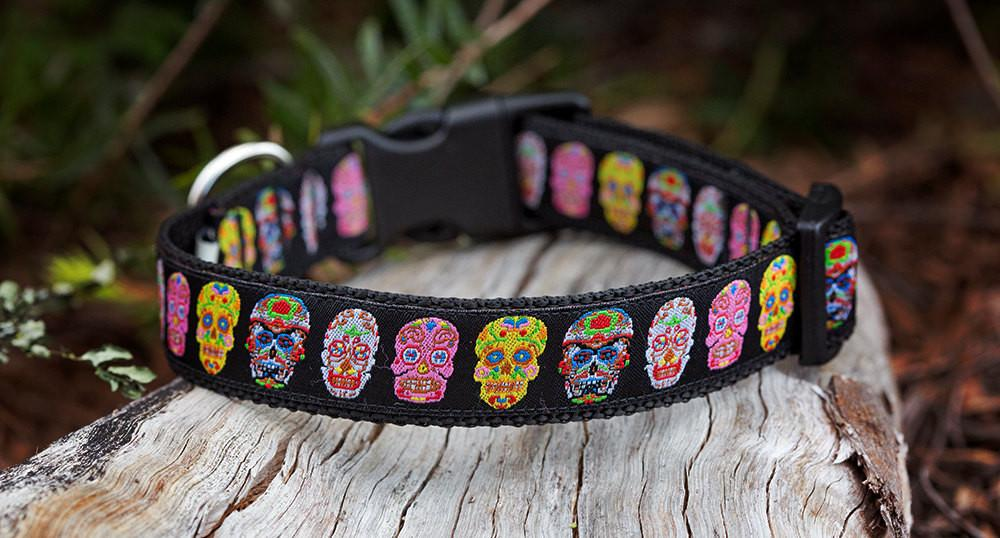 "Dia de los Muertos (Day of the Dead) Dog Collar / XS-XL-Dog Collar-Dizzy Dog Collars-Extra Small 5/8"" (1.5cm) Wide-On Black-Dizzy Dog Collars"