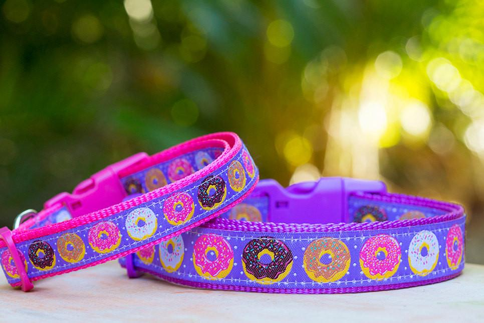 "Donut Dog Collar / XS-XL / Purple Dog Collar-Dog Collar-Dizzy Dog Collars-Extra Small 5/8"" (1.5cm) Wide-On Pink-Dizzy Dog Collars"