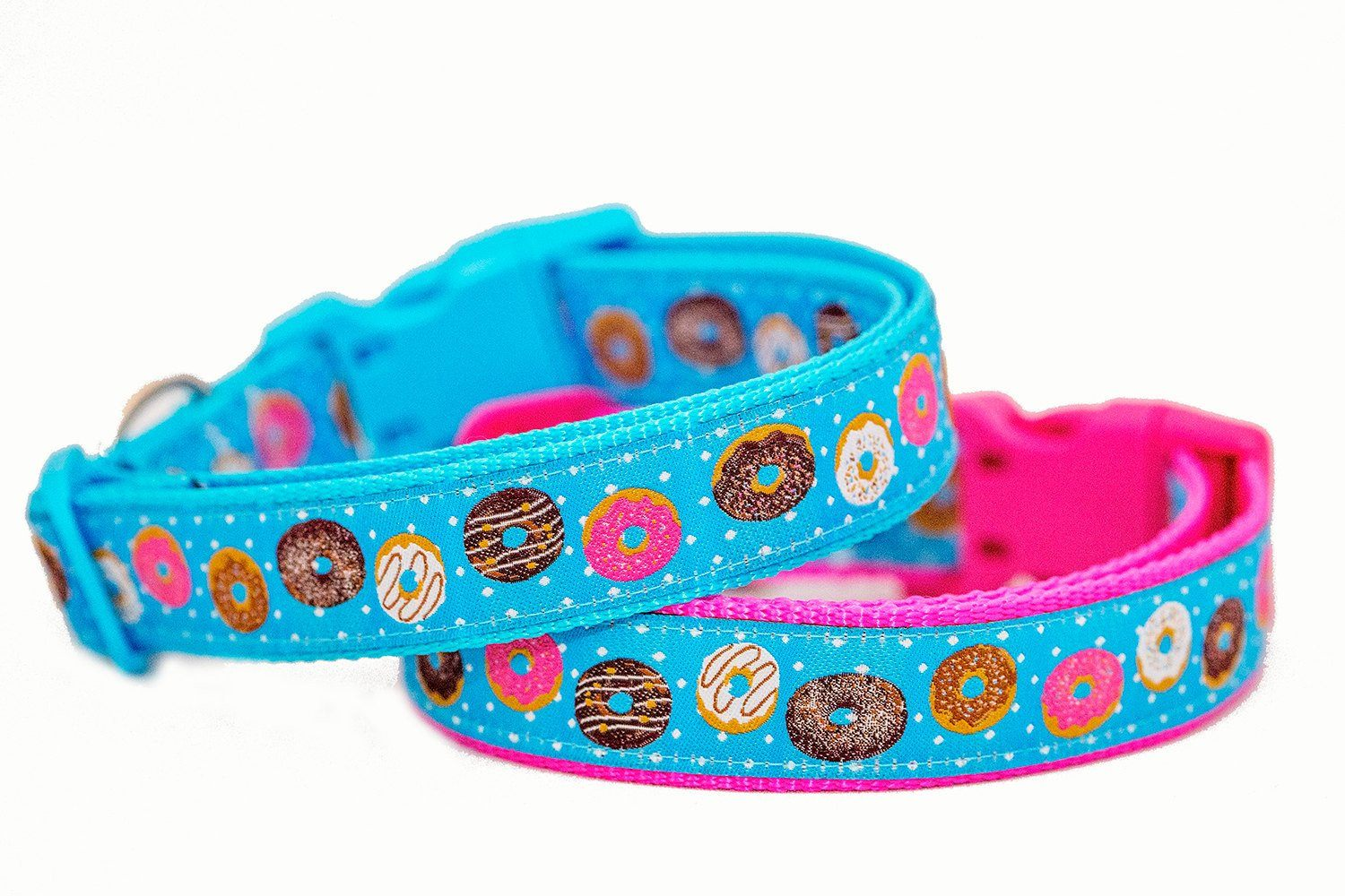 "Donuts Dog Collar / XS-XL-Dog Collar-Dizzy Dog Collars-Extra Small 5/8"" (1.5cm) Wide-Pink-Dizzy Dog Collars"