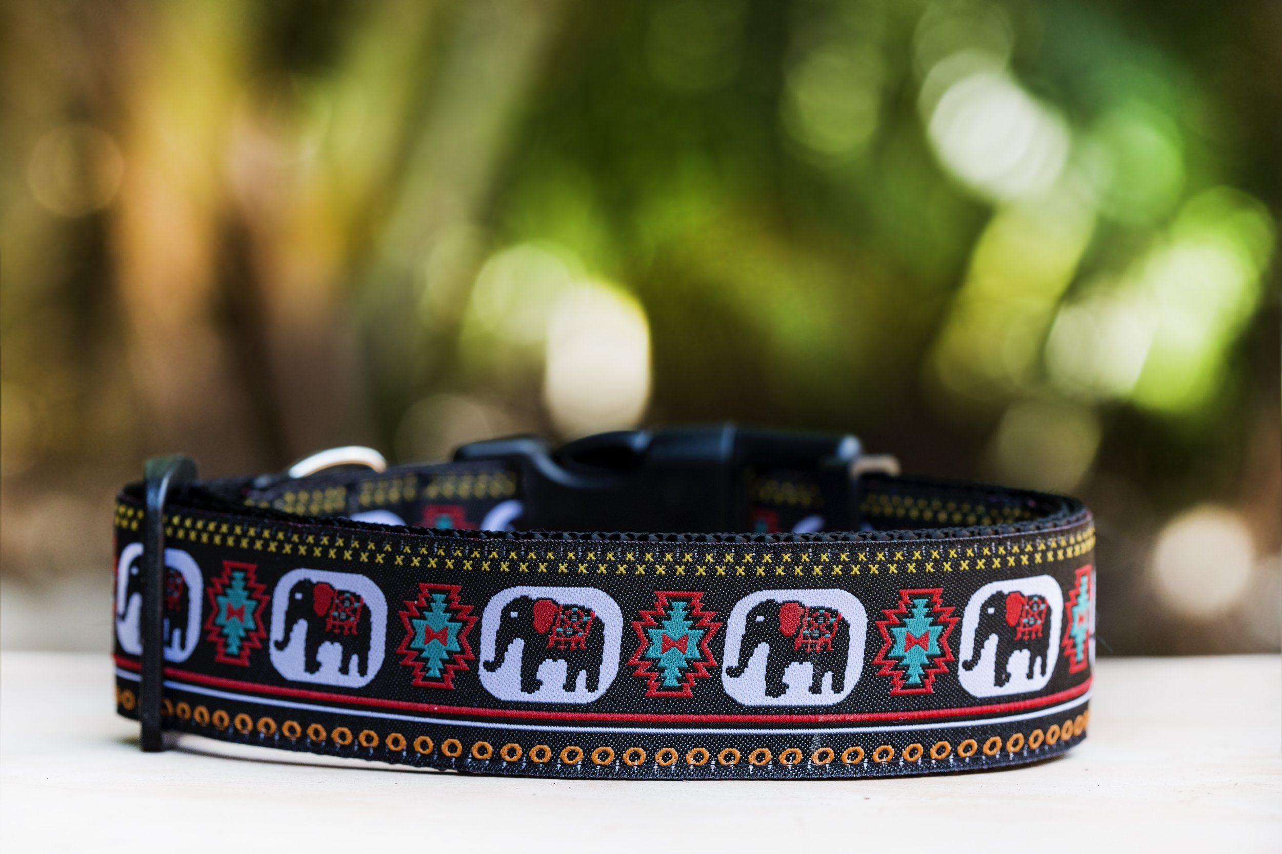 "Elephant Dog Collar 1.5"" Wide / Big Dog Collar-Dog Collar-Dizzy Dog Collars-Medium-Clip Buckle-Dizzy Dog Collars"