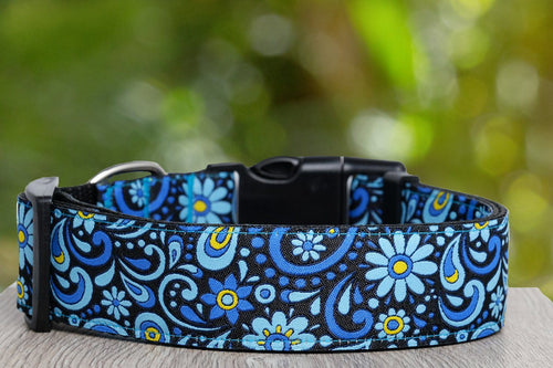 Flower Power Dog Collar (3.8cm -  Extra Wide) Buckle or Martingale  (Handmade to order)