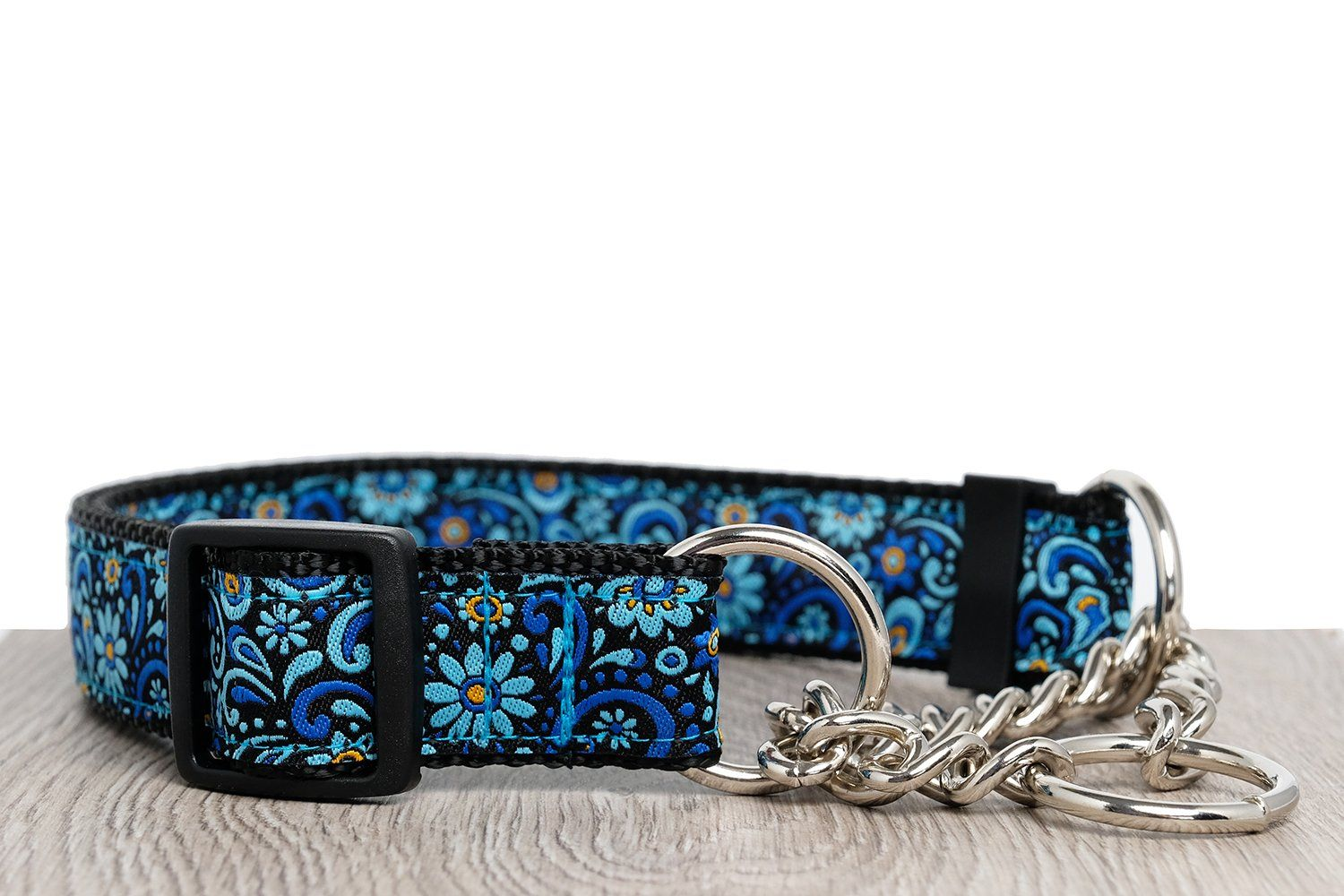 "Flower Power Martingale (Webbing or Half Check)-Dog Collar-Dizzy Dog Collars-Sml 2cm Wide (3/4"")-Half Check Chain-Dizzy Dog Collars"