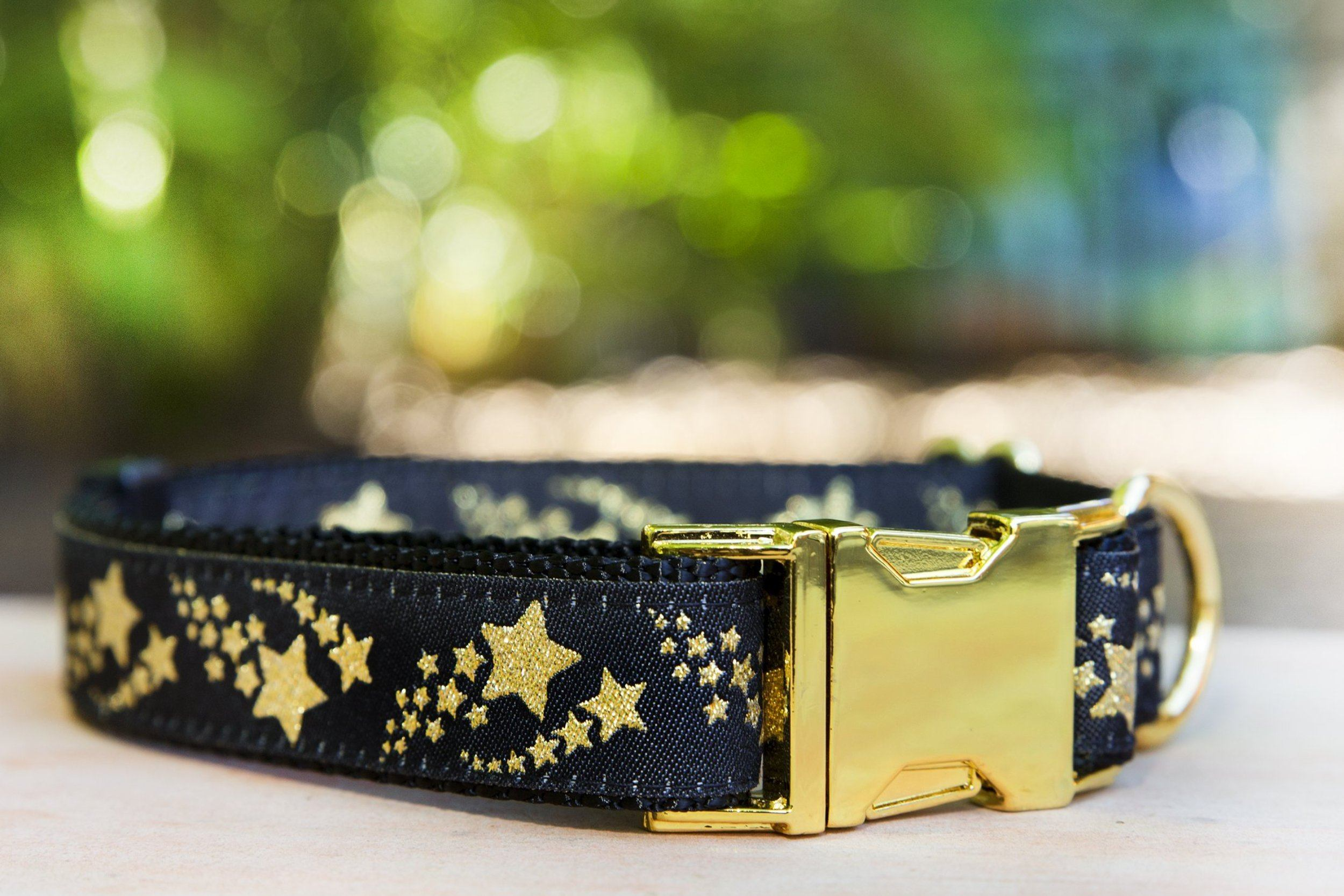 "Glitter Shooting Stars Dog Collar / XS-XL-Dog Collar-Dizzy Dog Collars-XS 5/8"" Black Buckle-Dizzy Dog Collars"