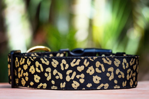 "Gold Leopard Print Dog Collar 1.5"" Wide / Gold Glitter (Handmade to order)"