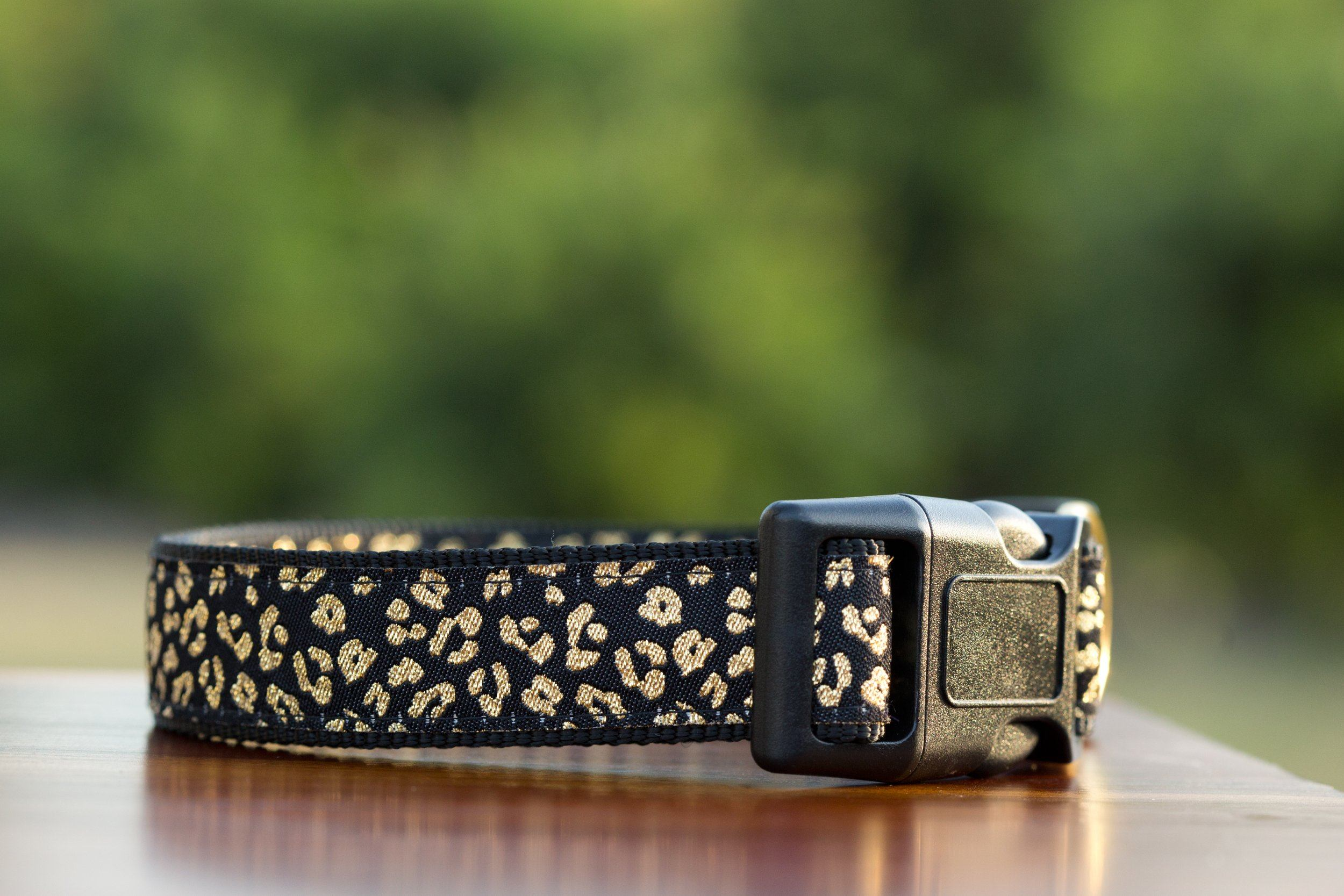 gold dog collar, leopard print dog collar, dog collars