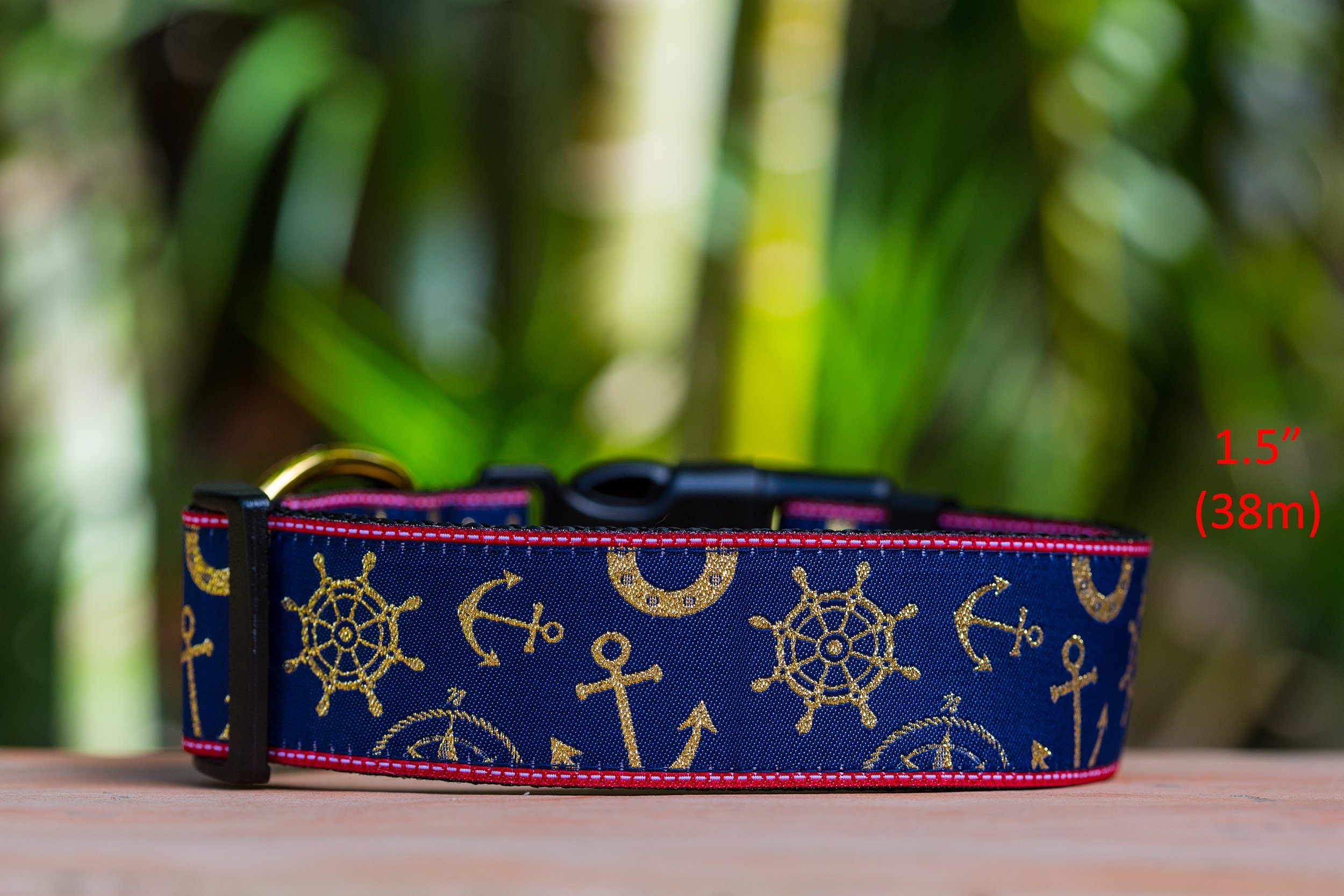 "Gold Nautical Dog Collar 1.5"" Wide / Gold Glitter-Dog Collar-Dizzy Dog Collars-Medium-Black-Dizzy Dog Collars"