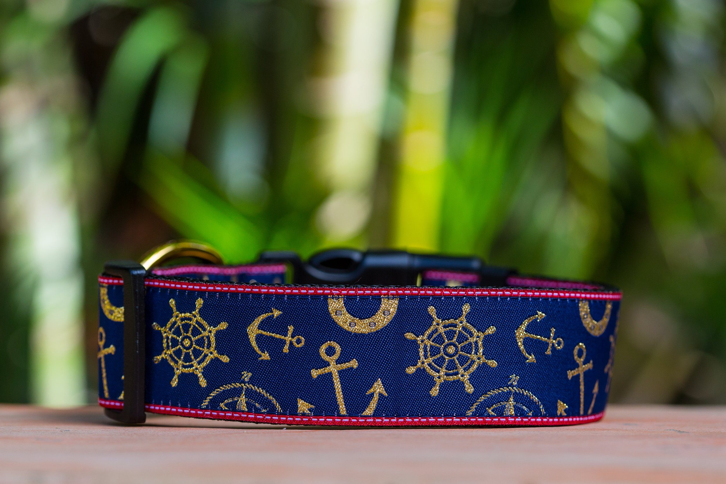 "Gold & Navy Nautical Dog Collar / XS-XL (On Navy Nylon)-Dog Collar-Dizzy Dog Collars-XS (5/8"") 1.5cm Wide-Red (Plastic)-Dizzy Dog Collars"