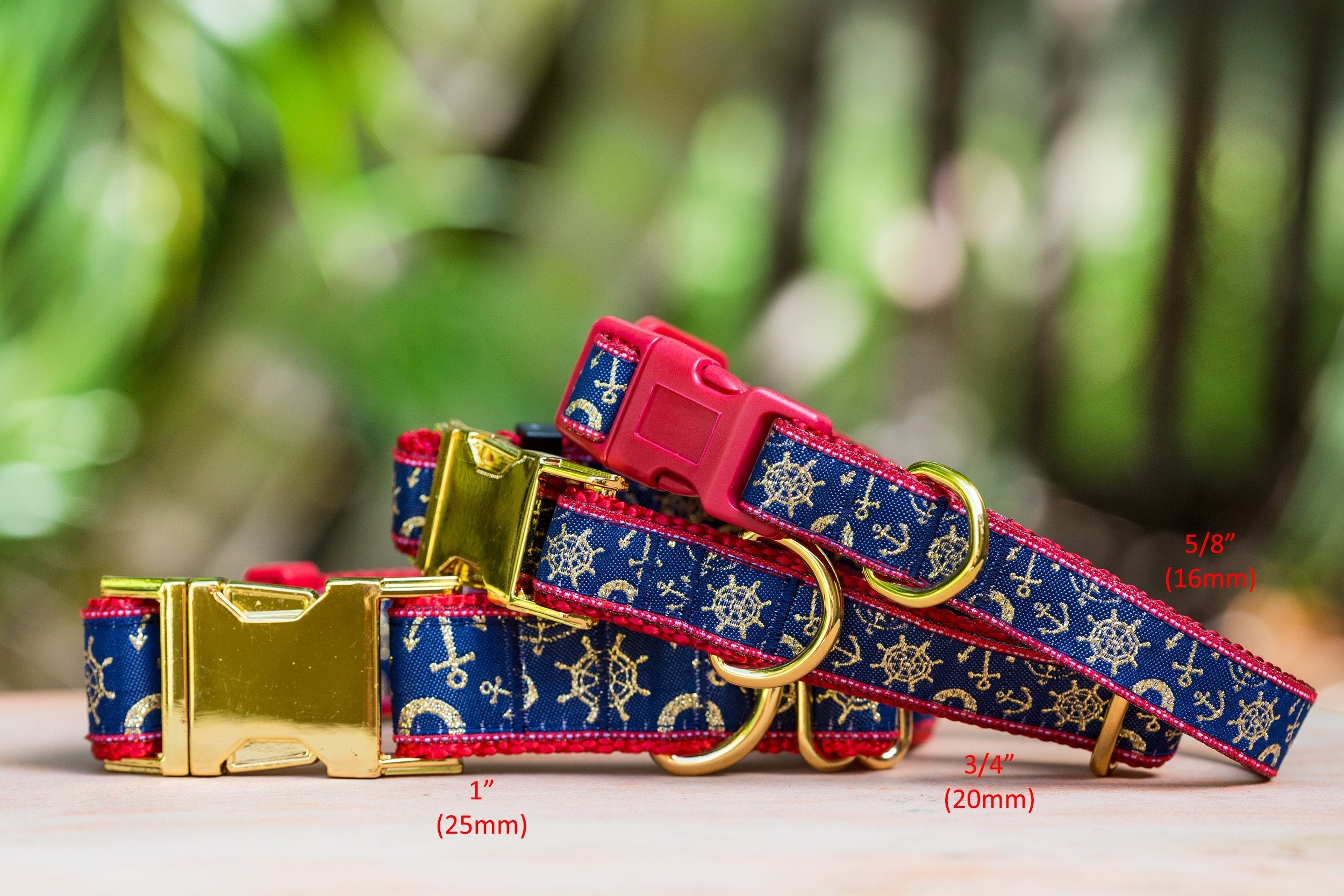 "Gold & Red Nautical Dog Collar / XS-XL / (On Red Nylon)-Dog Collar-Dizzy Dog Collars-XS (5/8"") 1.5cm Wide-Red (Plastic)-Dizzy Dog Collars"
