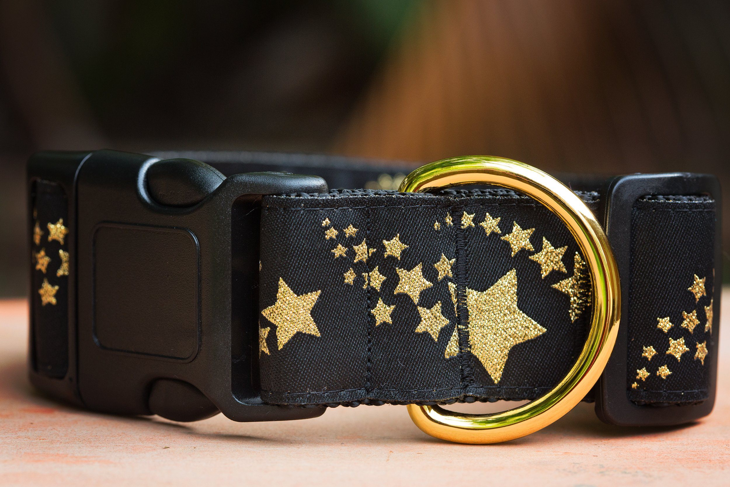 "Gold Shooting Stars Dog Collar 1.5"" Wide / Gold Glitter-Dog Collar-Dizzy Dog Collars-Medium - Buckle Collar-Dizzy Dog Collars"