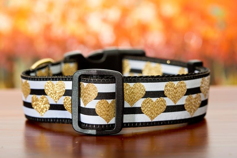 "Golden Hearts Dog Collar 1.5"" Wide / Gold Heart / Glitter-Dog Collar-Dizzy Dog Collars-Medium-Dizzy Dog Collars"
