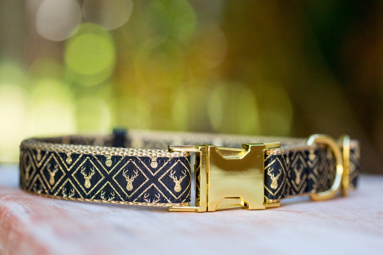 Golden Stag Dog Collar, gold dog collar, dog collar with stunning gold print and gold trim