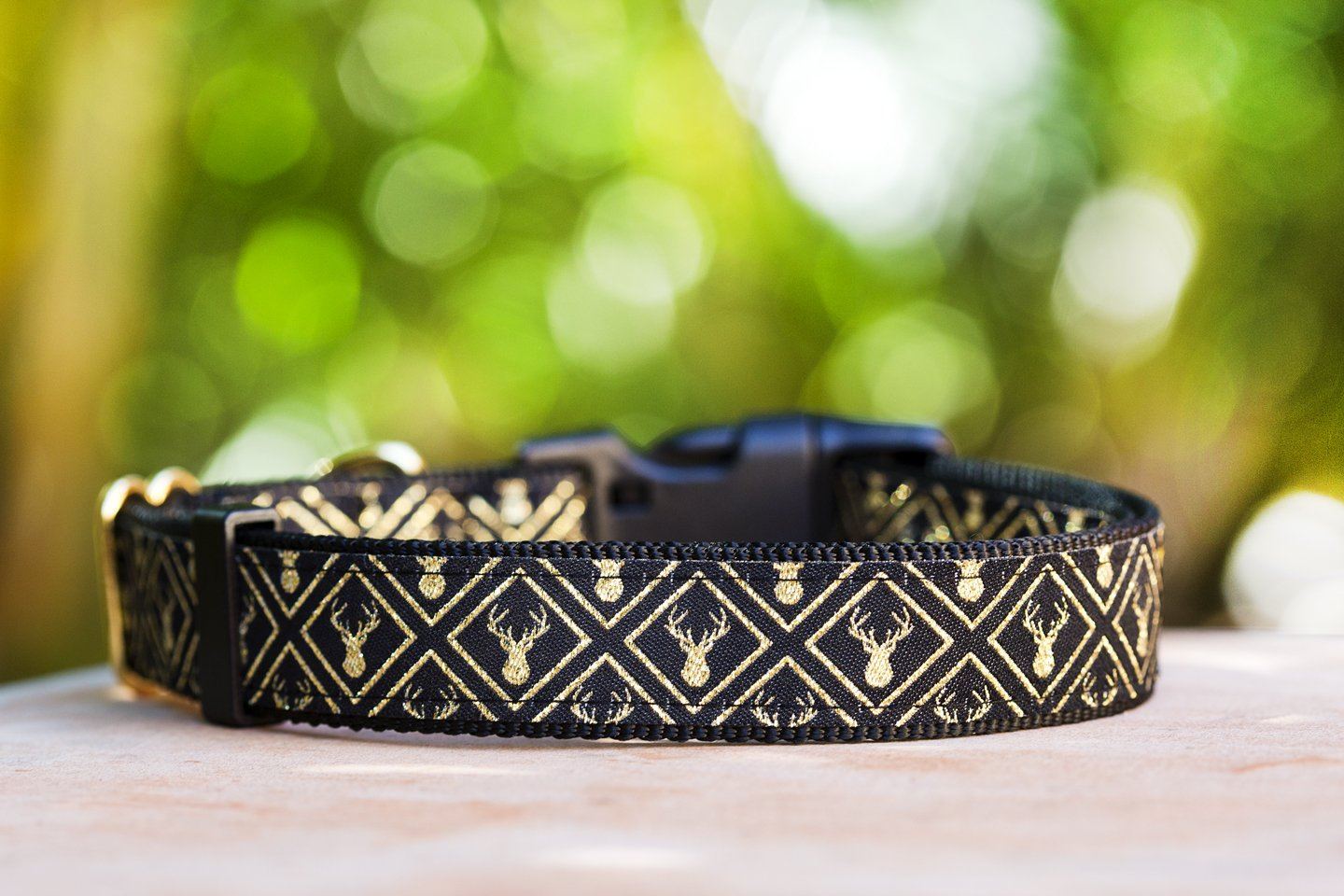"Golden Stag Dog Collar / XS-XL (On Black Nylon)-Dog Collar-Dizzy Dog Collars-XS 5/8"" Black Buckle-Dizzy Dog Collars"
