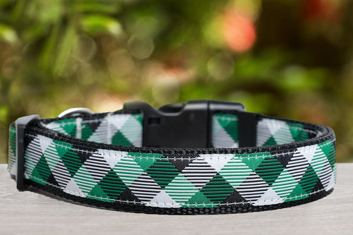 Green Plaid Dog Collar  (Nylon) (Handmade to order)