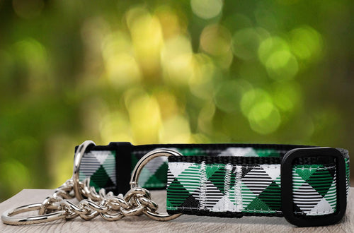 Green Plaid Martingale (Webbing or Half Check -Nylon) (Handmade to order)