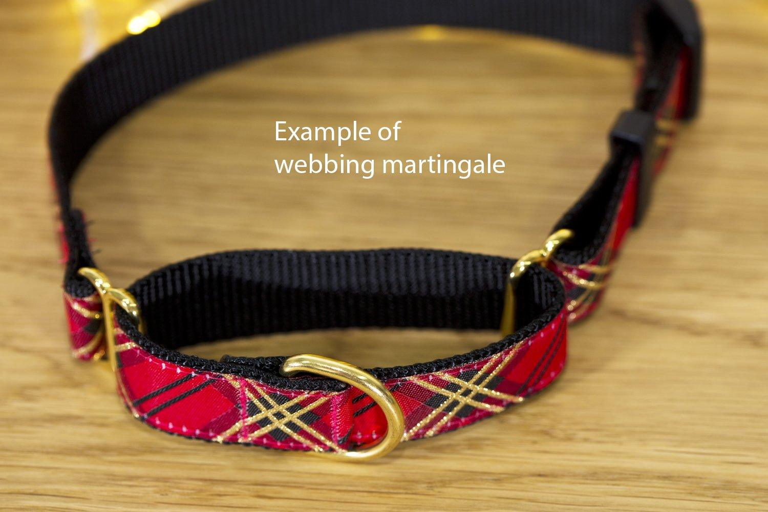 "Green Plaid Martingale (Webbing or Half Check)-Dog Collar-Dizzy Dog Collars-Sml 2cm Wide (3/4"")-Half Check Chain-Dizzy Dog Collars"