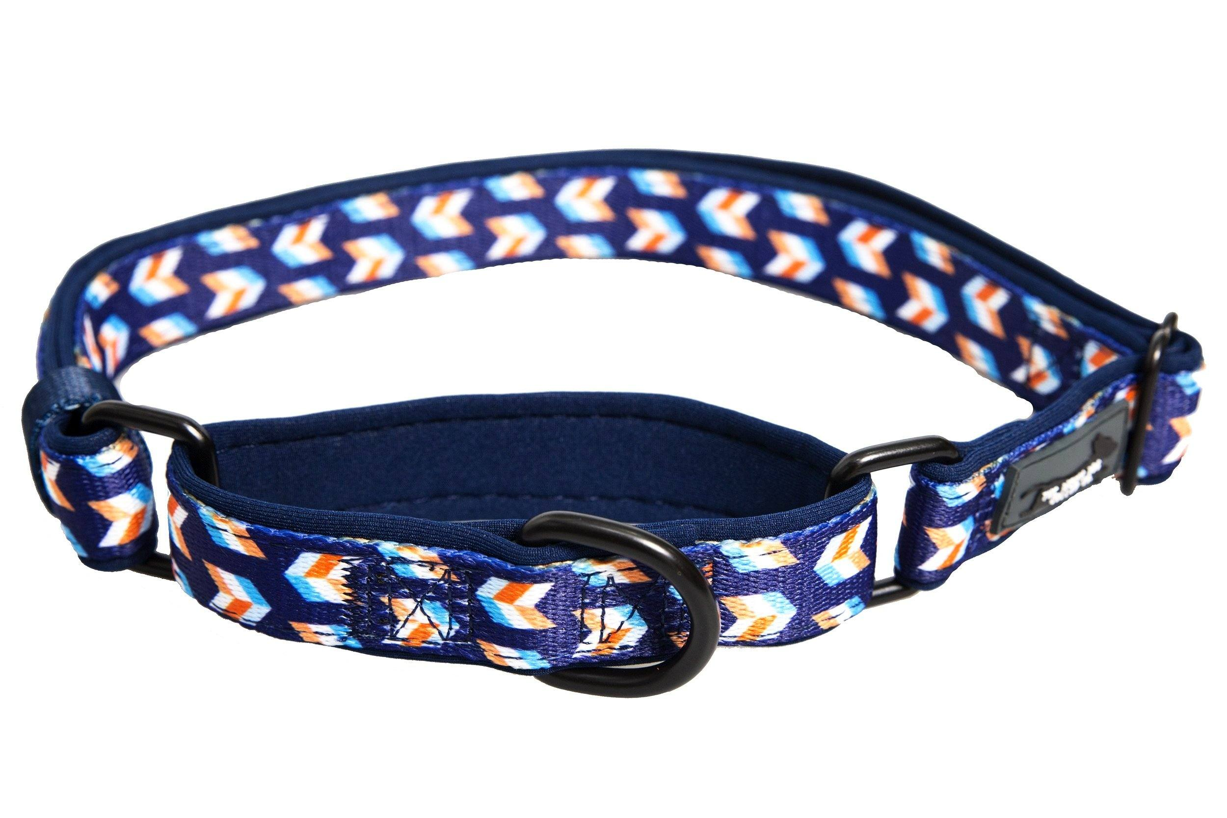 "Martingale Dog Collar - Navy Herringbone-Dog Collar-Dizzy Dog Collars-Small 1"" Wide-Dizzy Dog Collars"