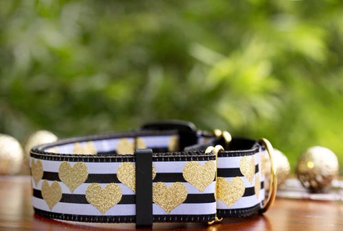 Martingale -Golden Hearts Dog Collar (Extra Wide) (Handmade to order)