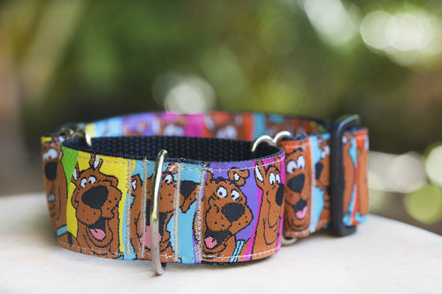 "Martingale -Scooby Doo Dog Collar 1.5"" Wide / Sighthound Dog Collar (Handmade to order)"