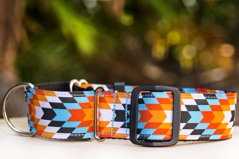 "Martingale - Sunset Navajo Dog Collar 1.5"" Wide / Sighthound Dog Collar-Dog Collar-Dizzy Dog Collars-Small/Medium-Dizzy Dog Collars"