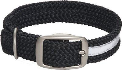 Mendota Double Braid Collar -Reflective Collar Black (Med-XL Dogs)