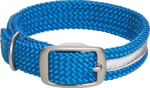 Mendota Double Braid Collar -Reflective Collar Blue (Med-XL Dogs)