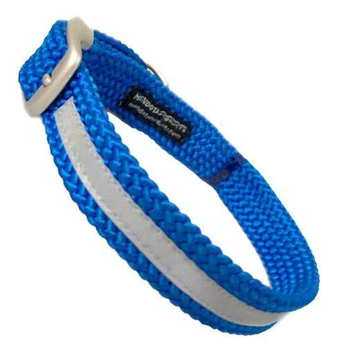 "Mendota Double Braid Collar -Reflective Collar Blue (Med-XL Dogs)-Dog Collar-Mendota-Up to 18"" (46cm)-Dizzy Dog Collars"