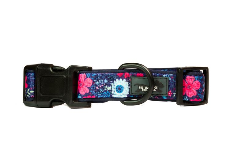 Navy Floral Dog Collar & (Detachable) Bow Tie-Dog Collar-Dizzy Dog Collars-Extra Small-Dizzy Dog Collars