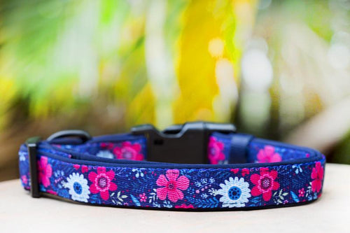 Navy Floral Dog Collar (Premade)