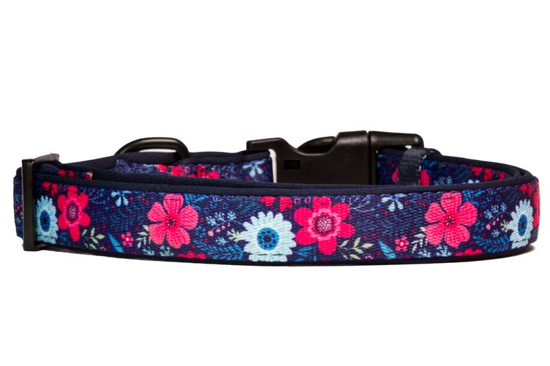 Navy Floral Dog Collar (Neoprene)-Dog Collar-Dizzy Dog Collars-Extra Small-Dizzy Dog Collars