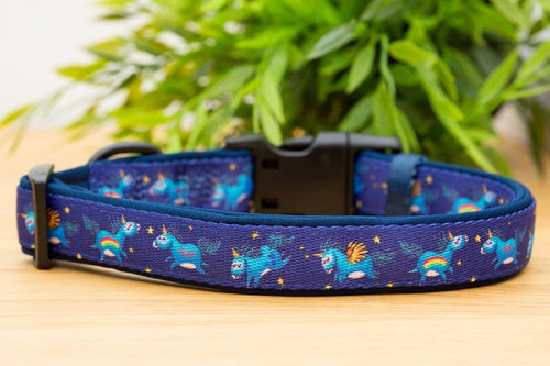 Navy Unicorn Dog Collar (Premade)