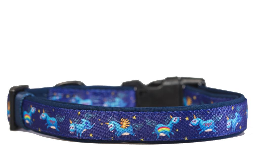 Navy Unicorn Dog Collar (Neoprene)-Dog Collar-Dizzy Dog Collars-Extra Small-Dizzy Dog Collars
