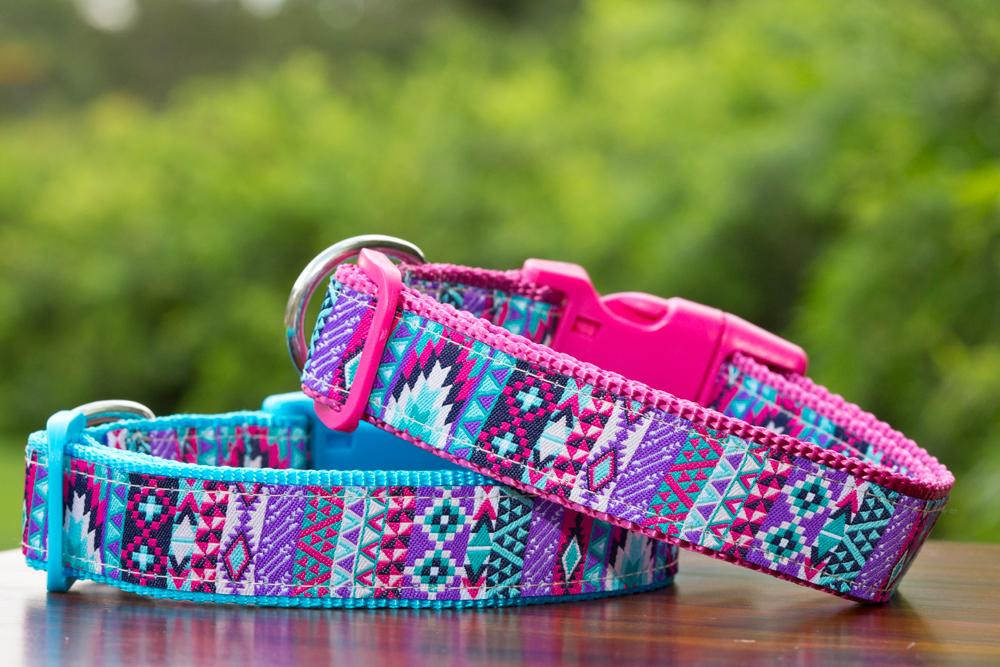 "Nuevo Aztec Dog Collar / XS-XL-Dog Collar-Dizzy Dog Collars-XS 5/8"" (1.5cm) Wide-Ice Blue-Dizzy Dog Collars"