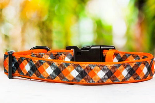 Orange Plaid Dog Collar (Premade)