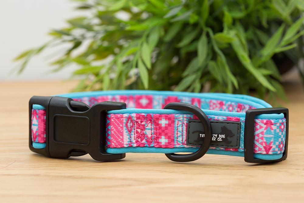 Pastel Aztec Dog Collar (Neoprene)-Dog Collar-Dizzy Dog Collars-Extra Small 1.5cm Wide-Dizzy Dog Collars